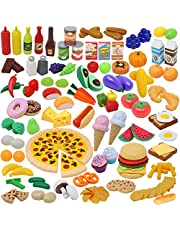 JOYIN Keukenspeelgoed, 135 stuks, snijden, fruit, levensmiddelen, keuken, kinderen, peuters, pedagogisch leren speelgoed, rollenspellen, cadeau
