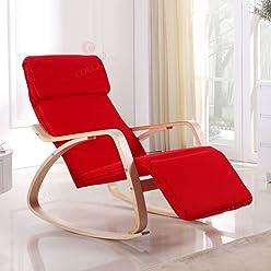 i-flair Relaxstuhl, Schwingstuhl mit verstellbarem Fussteil - Rot