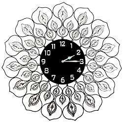 Lulu Decor Lotus Metal Wall Clock, frame measures 23, Decorative design with crystal leaves and 9 black dial in clear Arabic Numerals, perfect for housewarming gift, holiday gift (L21ND-C)