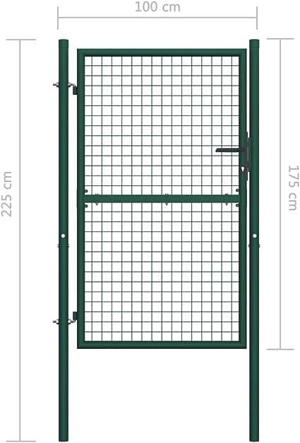 Festnight Puerta de Valla de Acero Puerta Jardin Metalica Vallas para Jardin Metalicas Verde 100x175 cm: Amazon.es: Hogar