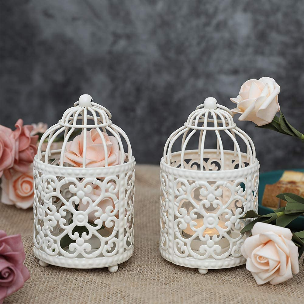 JHY DESIGN 2 Pack Small Metal Candle Stick Holder Hanging Birdcage Tealight Lantern Hollow Candle Holders for Table Wedding Party Valentine Patio Indoor Outdoor Gifts(White)