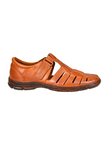 Lukpol Mens Genuine Buffalo Leather Orthopedic Sandals Shoes Model-1062