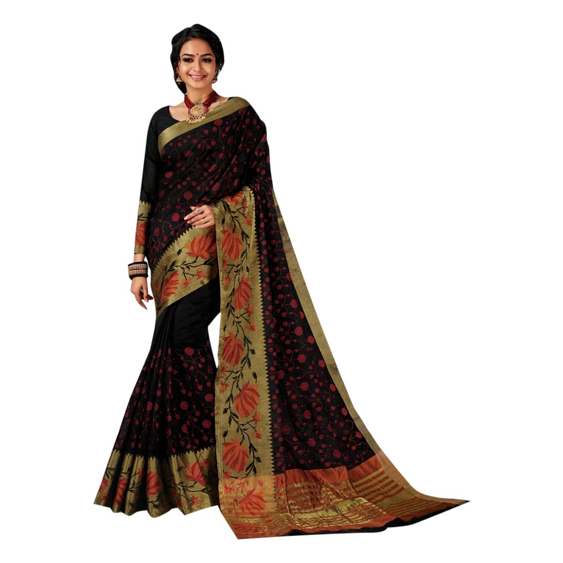 Black Indian Ethnic Traditional Cotton Saree Women Sari with Blouse piece Light wight Designer Party wear 7820
