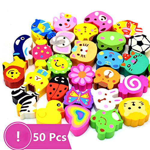 - 50 Pack Assorted Cartoon Animal Erasers Pencil Toppers kit Pencil Top Erasers, Gift/Award to Kids