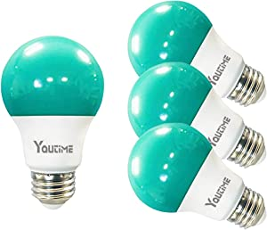 Youtime A19 LED Green Bug Light Bulb 7W Daylight White 5000K with E26 Medium Base, 4 Packs