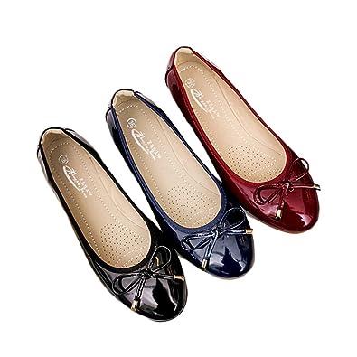 パンプス ぺたんこ靴 レディース 可愛い リボン付き エナメル 折りたたみ 収納可能 妊婦 婦人靴 立ち仕事