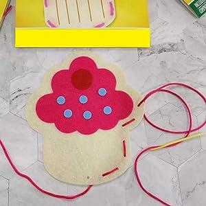 Schonee 4 Packs DIY Stitch It Felt Food Sewing Craft Kits,DIY Handmade Plush Dessert Pastry Set (Cupcake Pizza Ice Cream Donut)