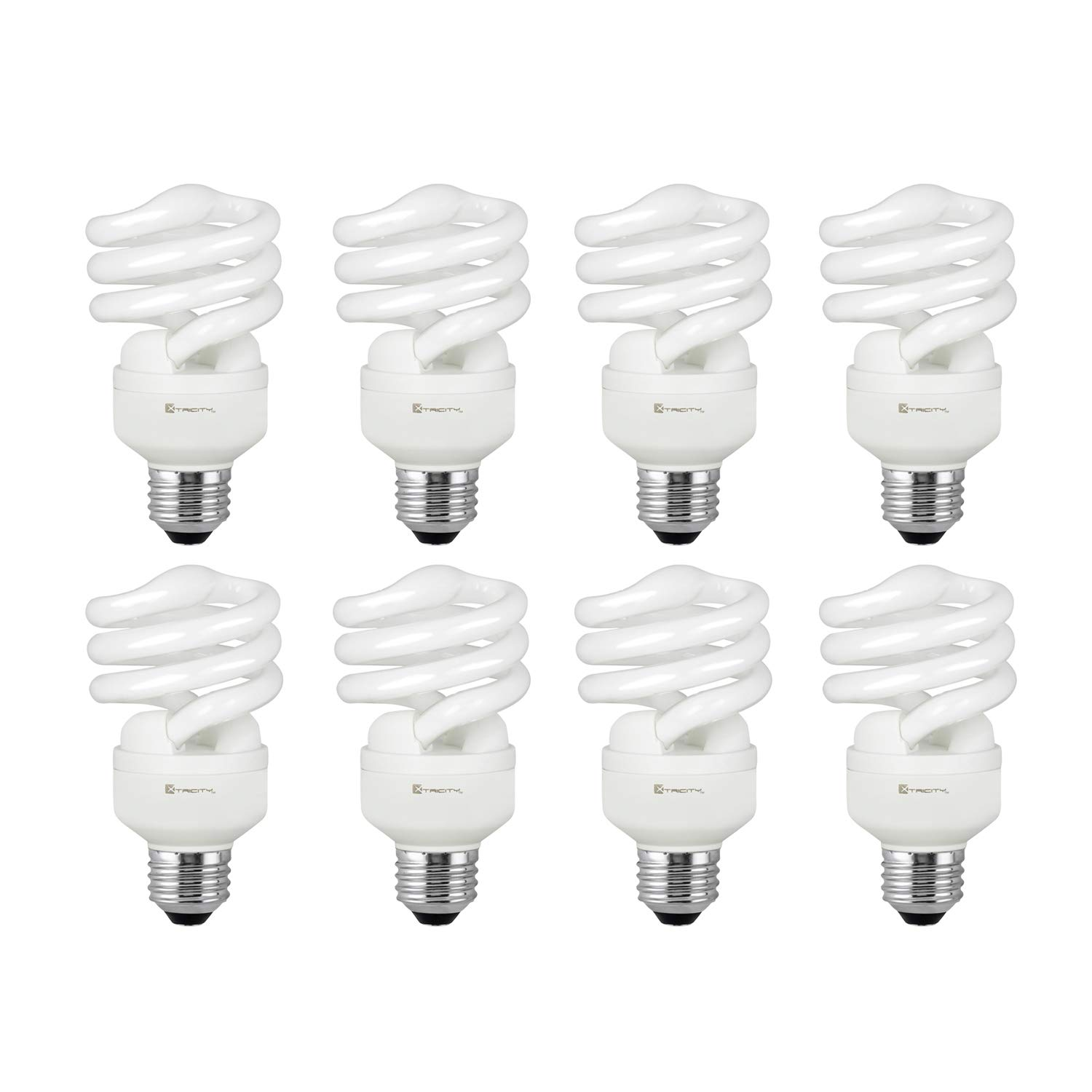 Compact Fluorescent Light Bulb T2 Spiral CFL, 5000k Daylight, 13W (60 Watt Equivalent), 900 Lumens, E26 Medium Base, 120V, UL Listed (Pack of 8)