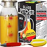 Glass Water Pitcher with TIGHT Lid [60 ounces] - Heat Resistant Carafe.also for Juice, Milk, Iced Tea (Luxury Packing + FREE BRUSH included) by Pykal