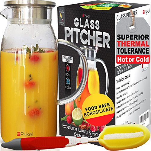 Glass Water Pitcher with TIGHT Lid [60 ounces] - Heat Resistant Carafe..also for Juice, Milk, Iced Tea (Luxury Packing + FREE BRUSH included) by Pykal - Glass Half Milk