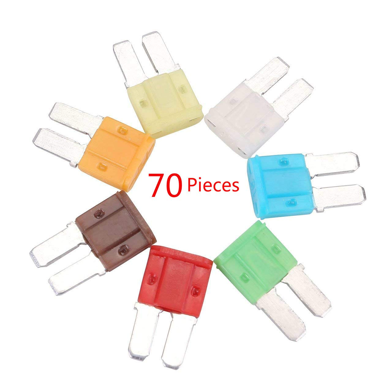Auto Car Micro II 2 Blade Fuse 5A 7.5A 10A 15A 20A 25A 30A Assortment ATO ATC Kit for Automotive, Boat, Marine, RV, SUV, Trike (70 Pieces) WEICHUANG