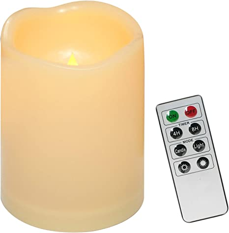 Outdoor Waterproof Battery Operated Flameless LED Pillar Candles with Remote Timer Flickering Electric Plastic Resin Decorative Lights for Xmas Christmas Wedding Party Decorations Gifts Supplies 3 PCS