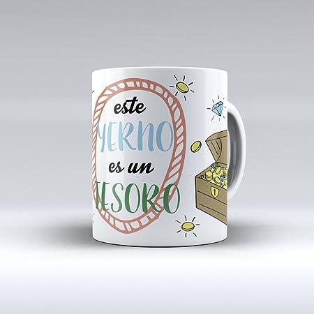 APRIL Taza cerámica Desayuno Regalo Original cumpleaños yerno Este yerno es un Tesoro