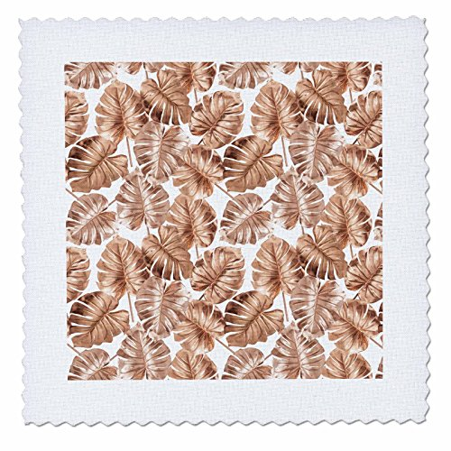 3dRose Uta Naumann Faux Glitter Pattern - Image of Shiny Aloha Copper Foliage Monstera Tropical Hawaii Pattern - 12x12 inch quilt square (qs_275099_4) by 3dRose