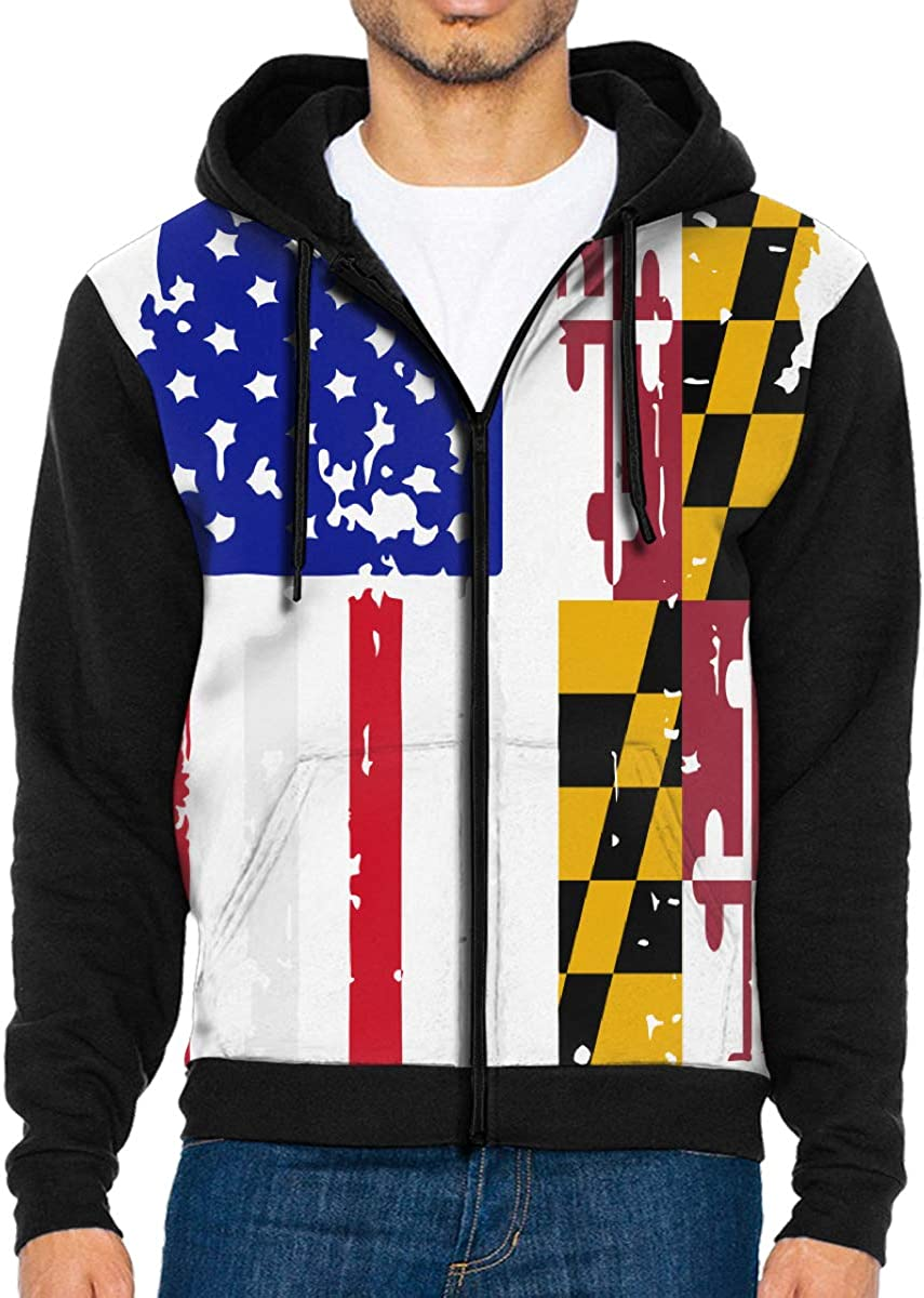 LMKJNGFD Maryland American USA Flag Pride Boys Adult Full Zip Hoodies  Sweatshirts Active Outwear Sweatshirts