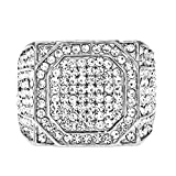 HongBoom Hot Hip Hop Rings 18K Gold Plated CZ CRYSTAL Fully Iced-Out Shine Ring (Silver/US size 12)