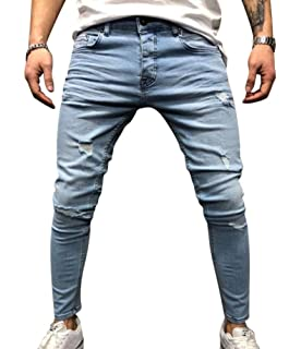 92a4c718945de WanYangg Skinny Impression Pantalons en Denim Homme Mode Ripped Effiloché  Slim Fit Imprimé Fleur Stretch Skinny