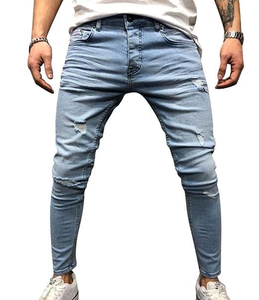 WanYangg Pantalones Vaqueros Impreso Hombre Rotos Elasticos ...