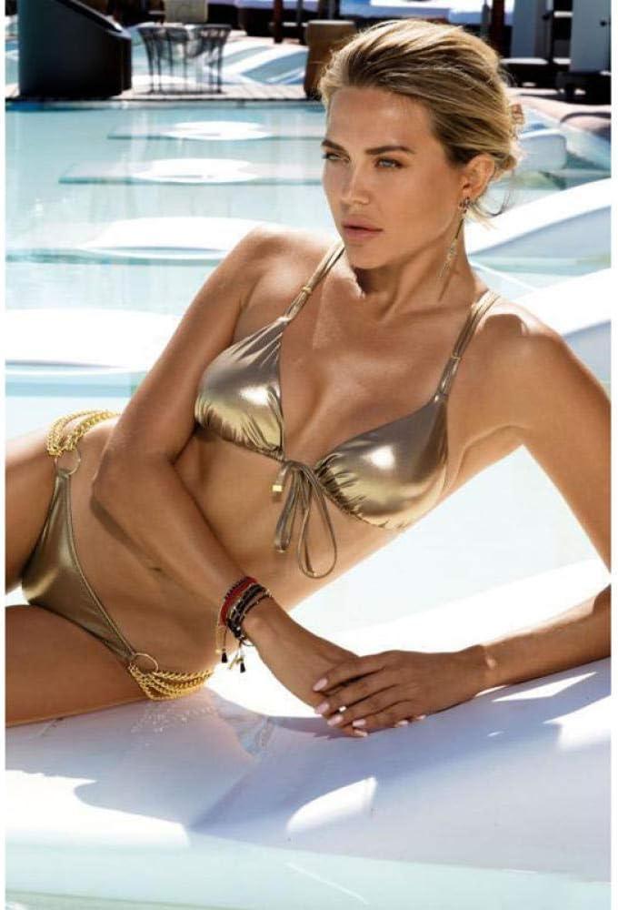 GREQ Ba/ñador Halter para Mujer Costume da bagno a triangolo in Tela lucida abbronzante Tinta Unita Nuovo Bikini con spacco Sexy-Gold/_S