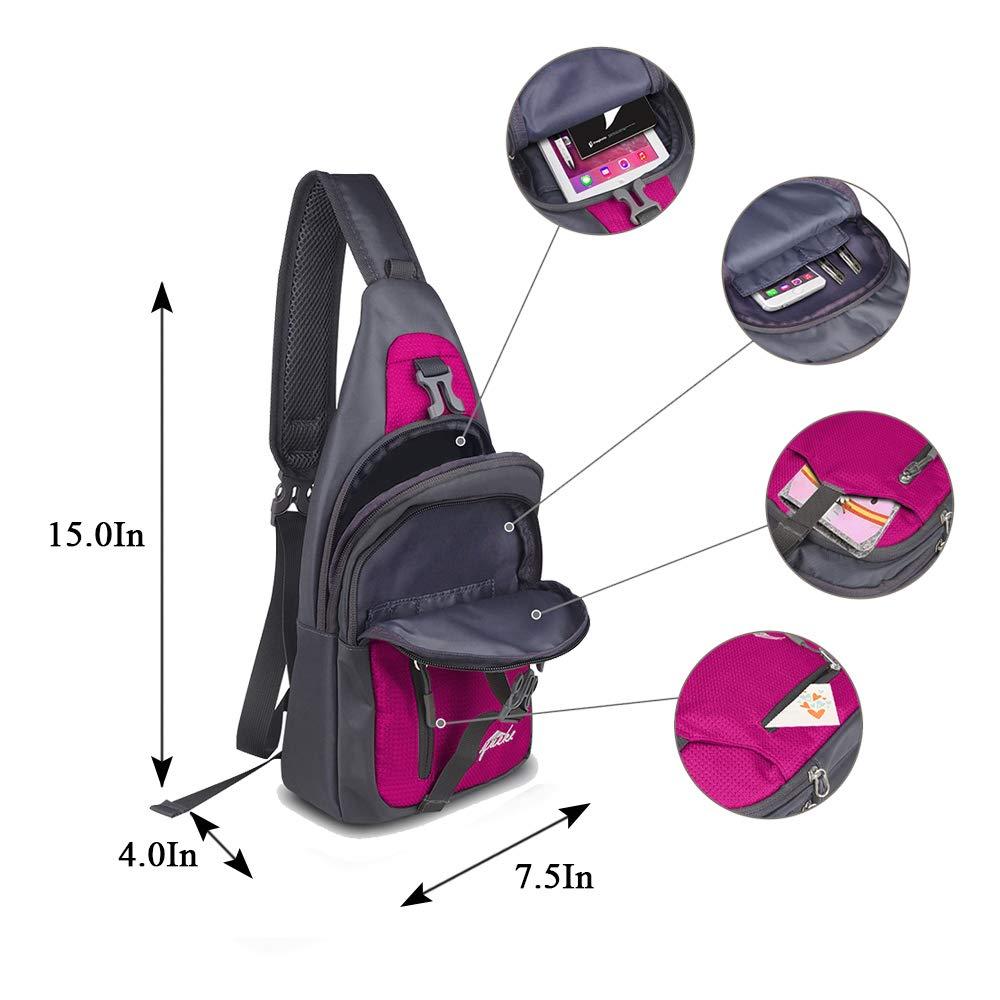 Y&R Direct Sling Bag Sling Backpack,Shoulder Chest Crossbody Bag Purse Nylon Lightweight MulticolorSmall Daypack Outdoor Hiking Camping Travel Women Men Boy Girls Kids Gifts (Wine Red)