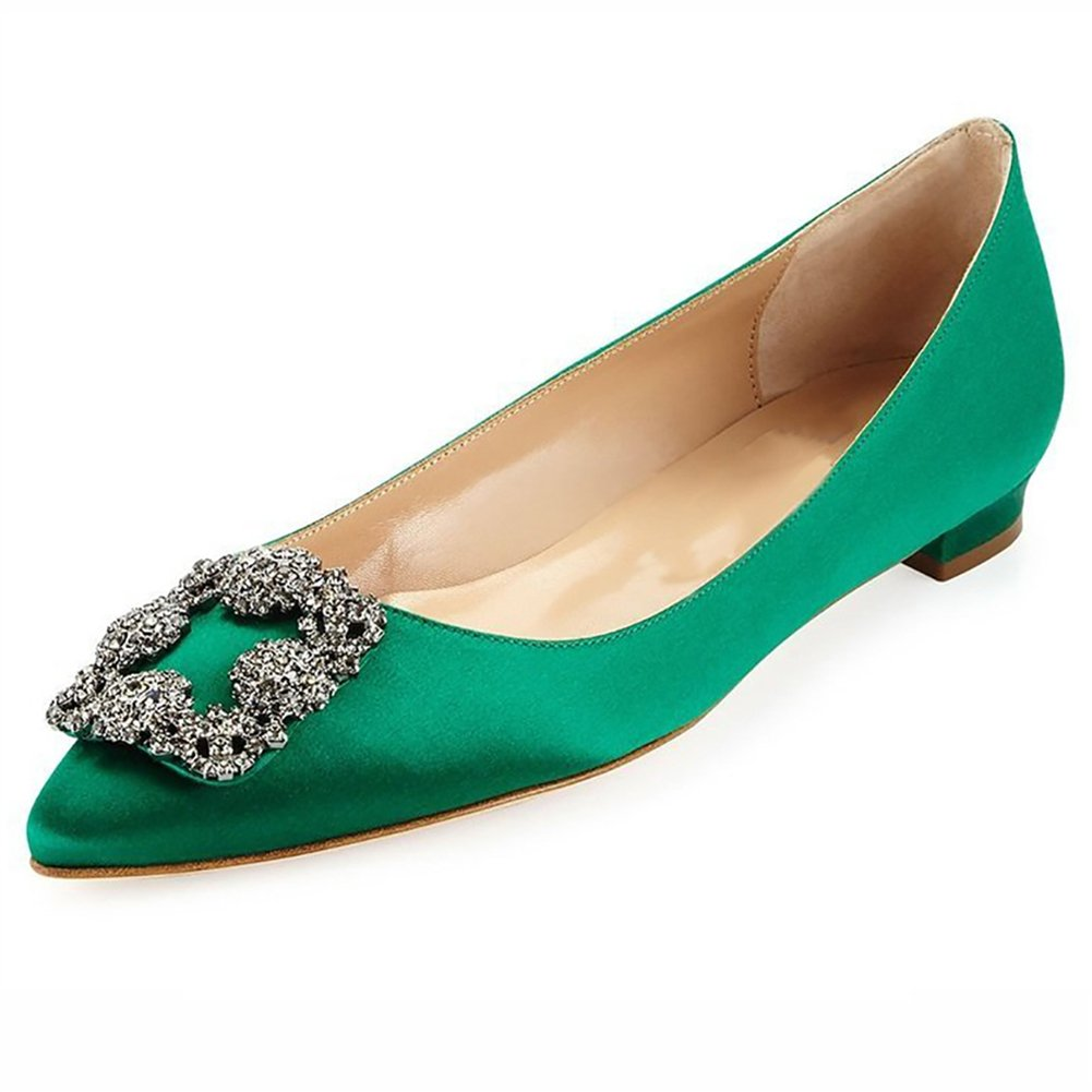 Caitlin Pan B01JRLKI0Y Femmes Escarpins Classique Talons Hauts Talon Satin Hauts Bout Pointu Diamants Talon Aiguille Chaussures de Robe Green-flat 8d6eef5 - reprogrammed.space