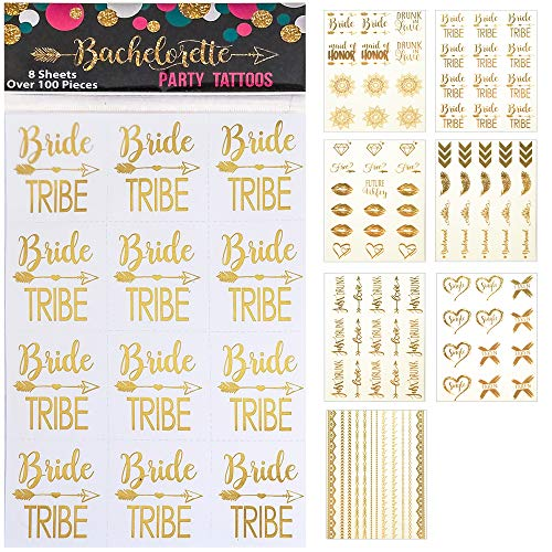 119 pc Bachelorette Party Tattoos/Bride Flash Tattoos (8 Sheets) Perforated Temporary Metallic Gold Tattoos Quick Bridal Shower Party Favor Decorations: Bride Tribe, Bridesmaid, Maid of Honor, Funny -