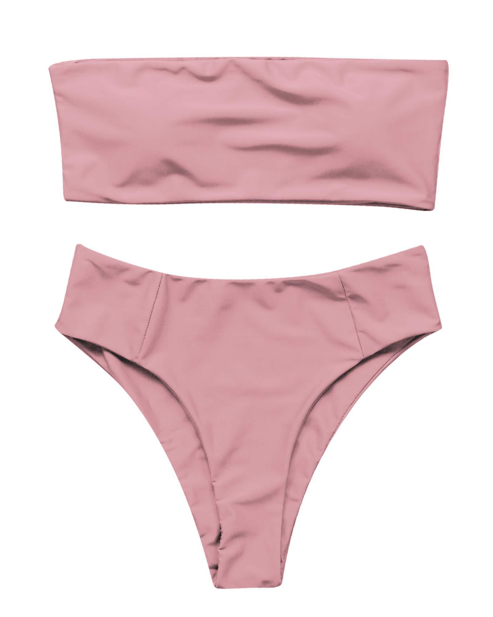 f64074368b1 OMKAGI Women's 2 Pieces Bandeau Bikini Swimsuits Off Shoulder High Waist  Bathing Suit High Cut product