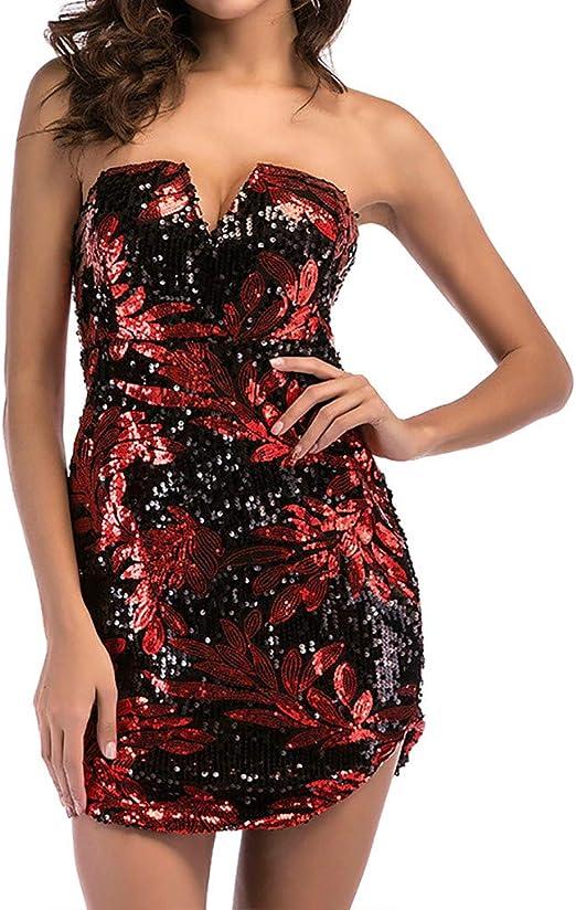 CGKUITER vestido de fiesta sexy vestido camisa de lentejuelas ...