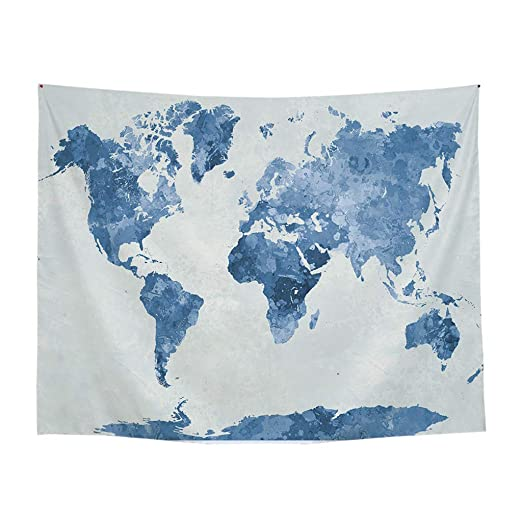 Broadwage Mapamundi Poliéster - 200 x 150 cm - Póster de Mapa del ...