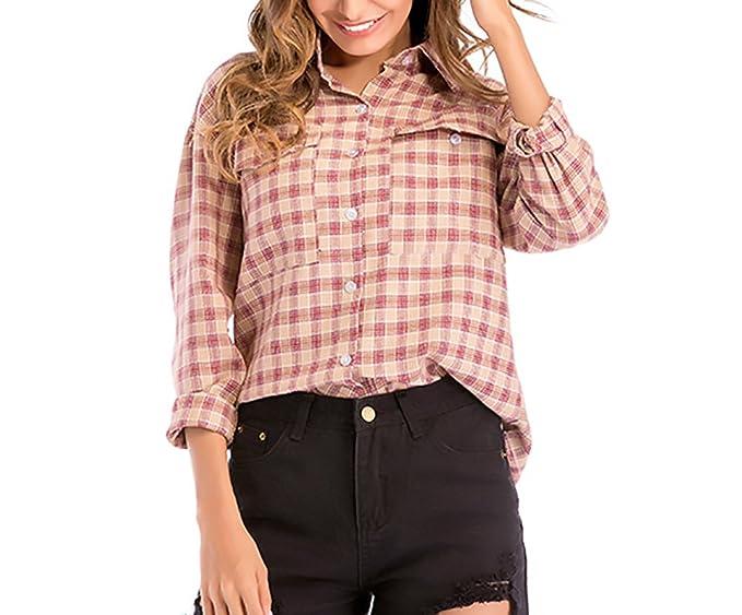 Camisas Mujer Elegante Tops Primavera Otoño Manga Larga De Solapa A Cuadros Blusas Moda Anchas Casual