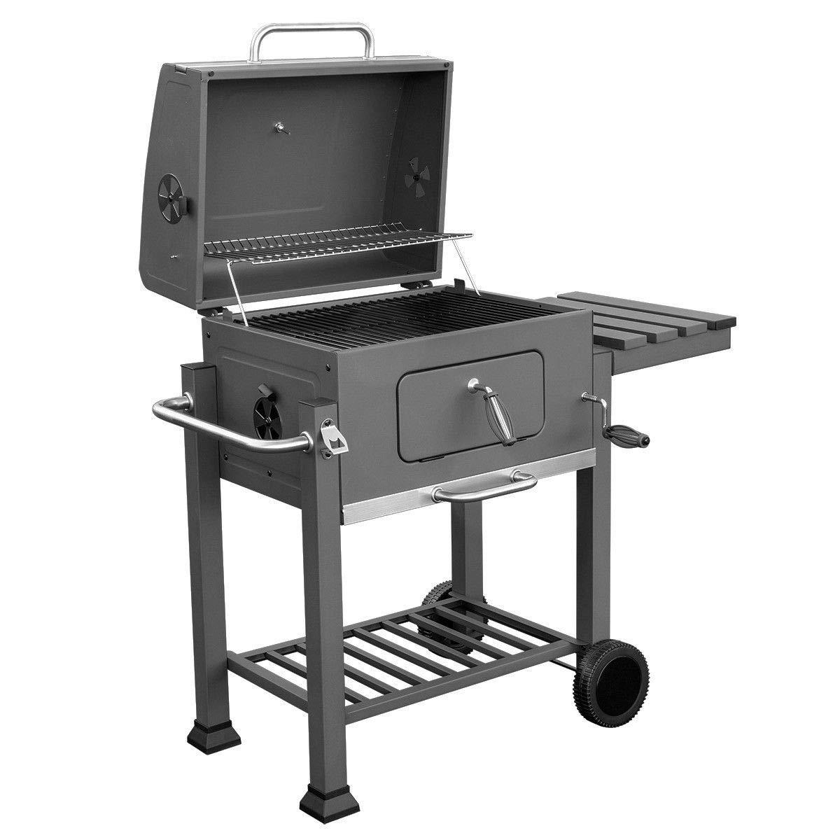 onestops8 Standing Outdoor Backyard Premium Barbecue Charcoal BBQ Grill Side Shelve