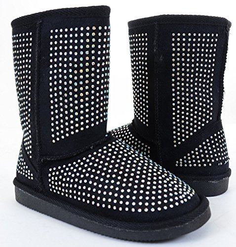 [Fur Rhinestone Faux Shearling Black Round Toe Women's Boot - 6] (Furry Boots Cheap)