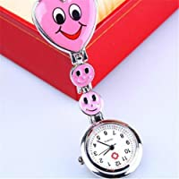 PERFLY Nurses Luminous Lapel Pocket Watch,Nurse Clip-on Fob Brooch Pendant Hanging Fobwatch Smile Face Pocket Watch