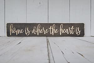 """Rustic Wooden Plaque Wall Art Hanging Sign Home is Where The Heart is Sign, Home is Where, Housewarming Gift, Home Sign, The Heart is,Home Decor, Where The Heart is, Home, Wood Sign 16""""X3"""""""