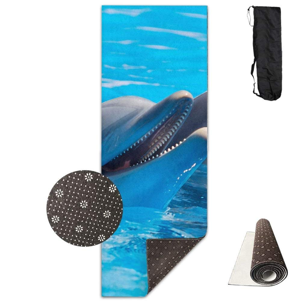 Happy Dolphin Yoga Mat  Advanced Yoga Mat  NonSlip Lining  Easy to Clean  LatexFree  Lightweight and Durable  Long 180 Width 61cm