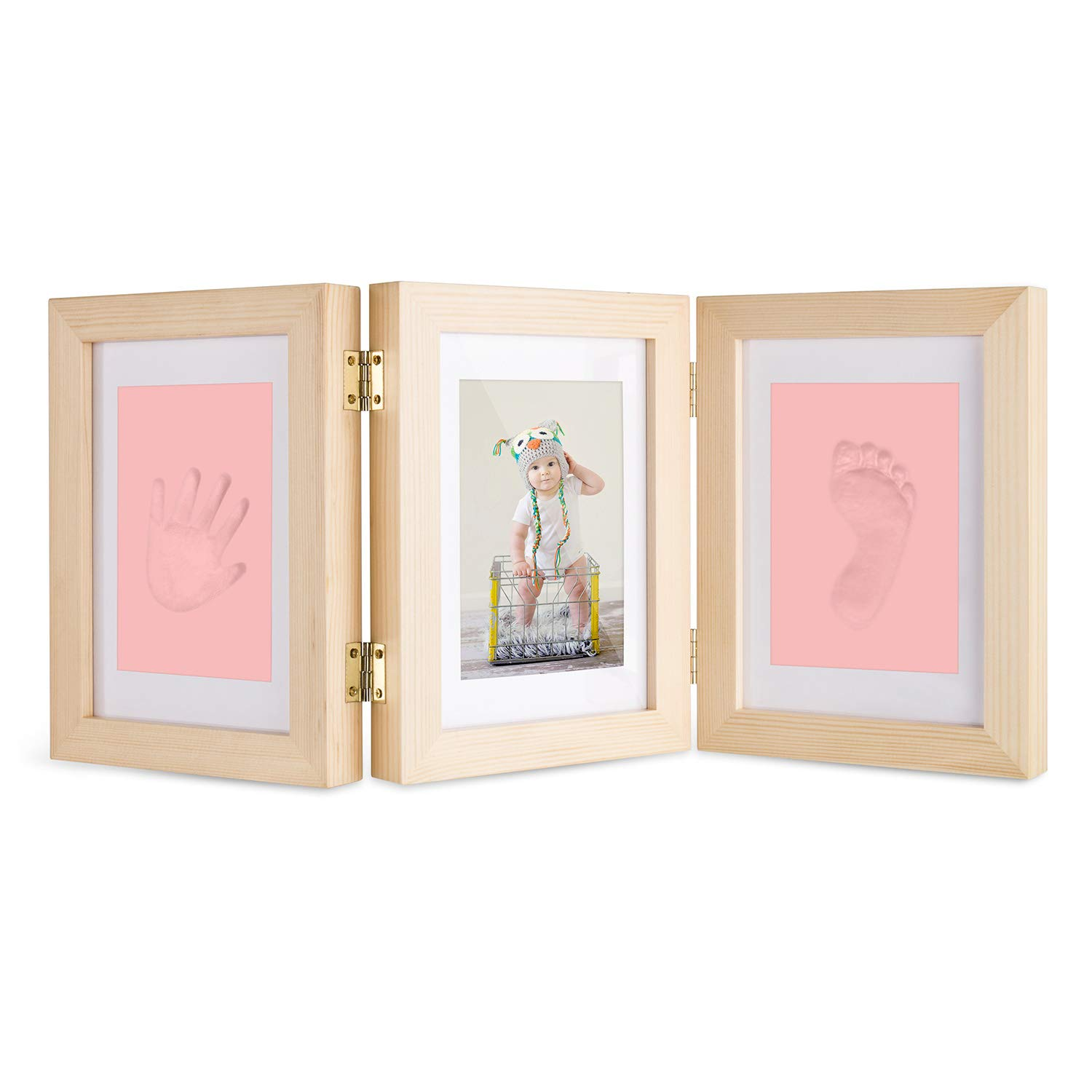 Baby Hand and Footprint Maker, Solid Wood Picture Frame Keepsake Kit with Clay Shower Gifts for Newborn Girls and Boys, Pet Paw Print Ferirama