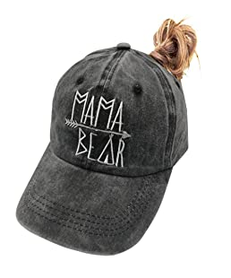 OASCUVER Mama Bear Denim Hat Adjustable Female Stretch Baseball Hats