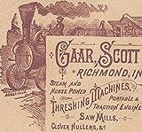 1800's Gaar Scott & Co Steam Tractor Traction Engine Richmond IN Farm Trade Card