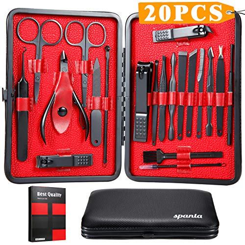 (Manicure Set,20 In 1 Professional Nail Clippers Kit Pedicure Care Tools-Stainless Steel Pedicure Kit Nail Scissors Grooming Kit Manicure Kits with Black Leather Travel Case)