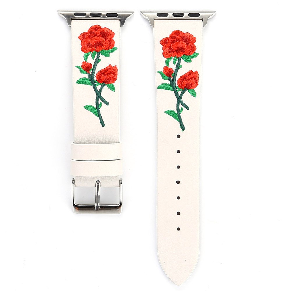 Lovewe iWatch Leather Band,Embroidery Flower Leather Strap Replacement Watch Band For Apple Watch Series 1/2/3 38mm (white)