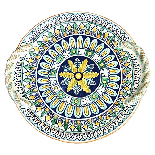 CERAMICHE D'ARTE PARRINI - Italian Ceramic Centerpiece Flat Plate Art Pottery Painted Decorated Deruta Made ITALY Tuscan