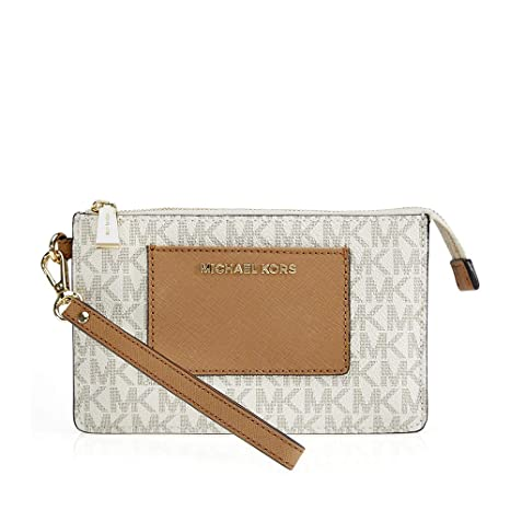 f0508bee6f76 Buy Michael Kors Michael Kors Bedford Signature Large Clutch - Vanilla /  Acorn Online at Low Prices in India - Amazon.in