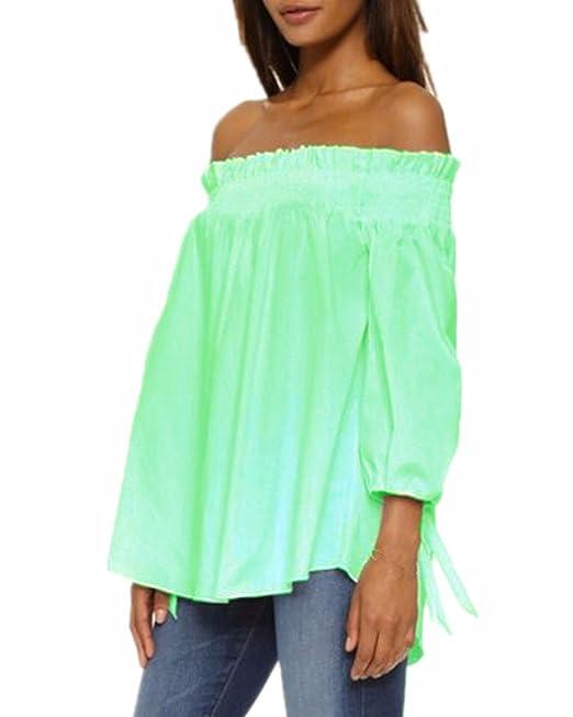 ZANZEA Camisa Blusas Blanca Manga Larga Mujer Elegantes de Vestir sin Hombro Raya Verde Claro ES