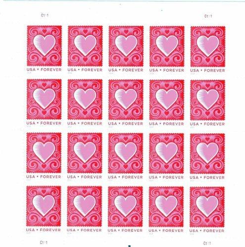 (Cut Paper Heart Love Series Forever Stamp Full Sheet of 20 Scott 4847)