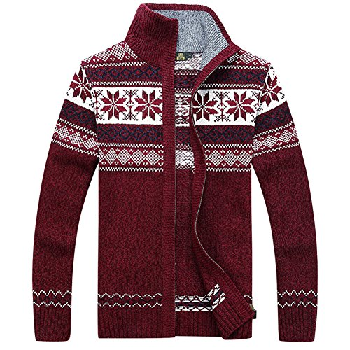 Zipper Knitted - Casual Men's Thick Knitted Zipper Cardigan Sweater with Pattern (Large, Red)