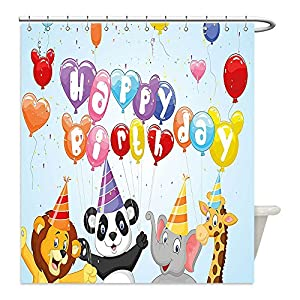 Liguo88 Custom Waterproof Bathroom Shower Curtain Polyester Birthday Decorations for Kids Cartoon Animals Panda Lion Elephant with Balloons and Flags Multicolor Decorative bathroom
