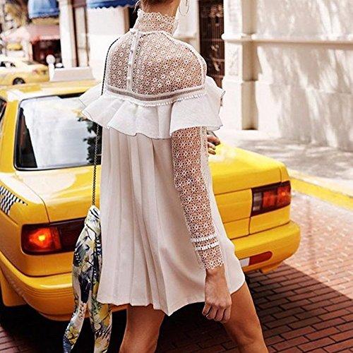 La Cabina Femme Sexy Mini Robe en Dentelle Semi Transparente & Flounces à Manches Longues Style Office Lady Élégant Noble