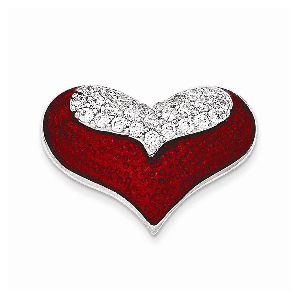 Mireval Sterling Silver Polished Red Enamel with CZ Slide