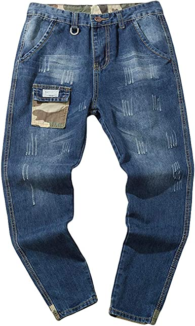 vestibilit/à Aderente Ode-Joy Uomo Autunno Informale Denim Cotton Vintage Lavare Il Lavoro Hip Hop I Pantaloni Jeans-Pantaloni Elasticizzati da Uomo Pantaloni Chino a Gamba Dritta