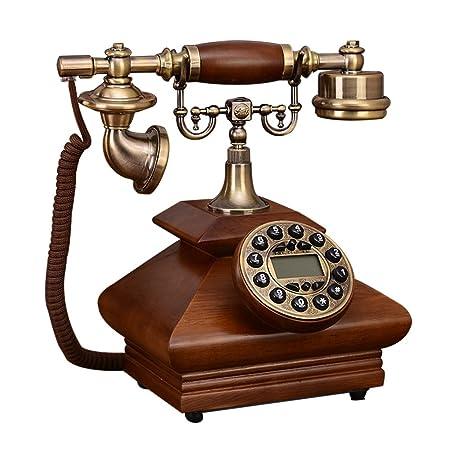 7ac0e432a2d SAN_X Teléfono Retro Teléfono Retro/Antiguo/Madera sólida/Marcado con  Teclas/con